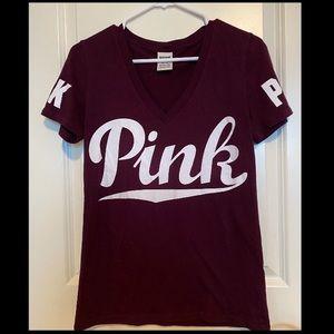 Pink By Victoria's Secret Burgundy V-Neck Top